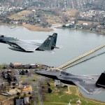 Image:  US Air Force Fighter Jets Flying Over Joint Base Langley-Eustis in Hampton, VA