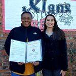 Christine Mason (L) and Emily Wilson (R) at Slap's BBQ in Kansas City.