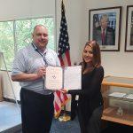 VMSI COO, Ken Konkol,  recognizes Amanda Leal