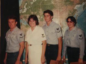 Ellen Schramm, second from left,  former US Navy Cryptologic Technician Communications Operator