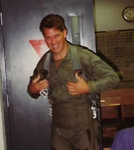 Bob Wesp, prior to boarding an F16  while serving in the U.S. Air Force.