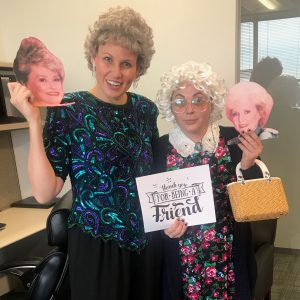 Kylene Henson (L) and Laura (R) dressed as two of the Golden Girls for Halloween at VMSI